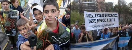 Niños iraníes durante la marcha del viernes y Manifestantes frente a la Embajada iraní en Bs. As.