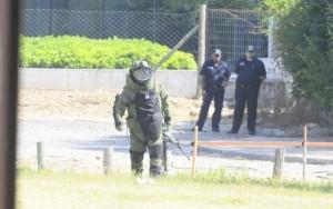 La movilización policial que generó la presencia del explosivo en cercanías de la embajada israelí en Montevideo, Uruguay.