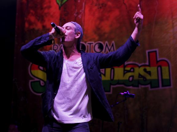 US Jewish musician Matisyahu performs on stage during the Rototom Sunsplash reggae festival after an international outcry against organizers to cancel invitation in Benicassim
