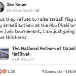 Fundador de WhatsApp postea un video del Himno israelí en protesta por prohibición en torneo de judo